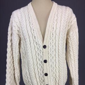 LL Bean sz L Wool Ireland Cable Cardigan Sweater